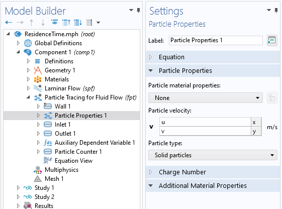 A screenshot of the settings for the Particle Properties feature, with the Particle Properties section expanded.
