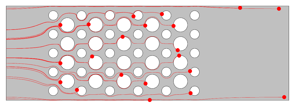 A view of the laminar flow model at the end of the simulation, visualized in gray with the remaining particles shown in red.