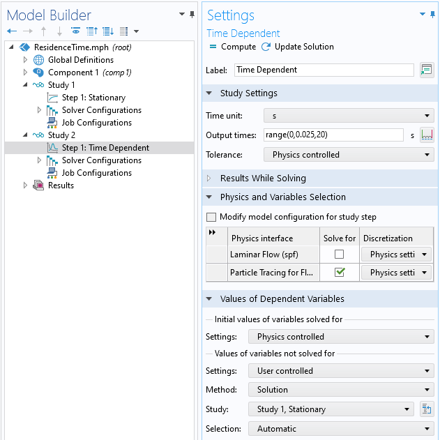 A screenshot of the Settings window for the Time Dependent study, with the Physics and Variables Selection and Values of Dependent Variables sections expanded.