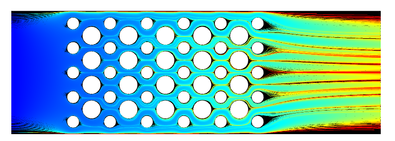 Simulation results for the flow through a device, with the streamlines visualized in rainbow and colored by the residence time variable.