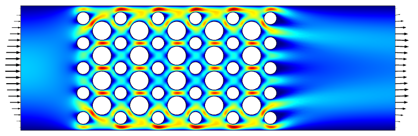 Simulation results showing steady-state laminar flow field through a small device, visualized in a rainbow color table with black arrows.