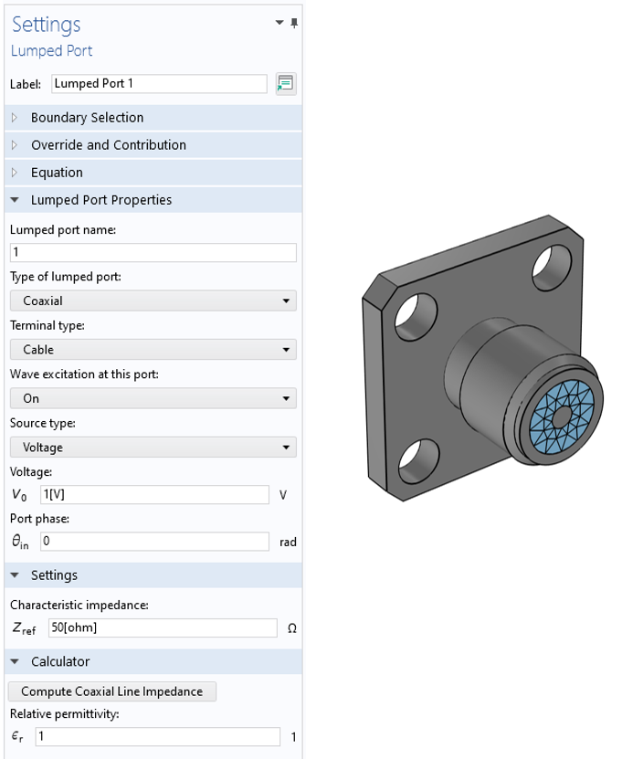 A side-by-side view of the Lumped Port Settings window and a coaxial lumped port model visualized in gray and blue.