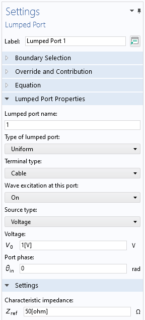 A screenshot of the Settings window for the Lumped Port boundary condition, with the Lumped Port Properties and Settings sections expanded.