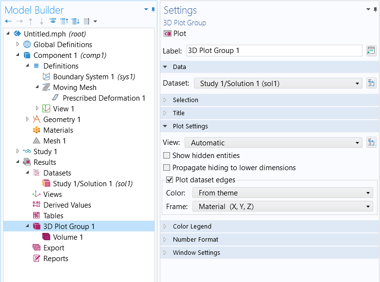 A screenshot of the Settings window for the 3D Plot Group feature, with the Data and Plot Settings sections expanded.