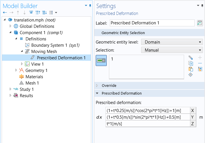 A screenshot of the Prescribed Deformation feature Settings window.
