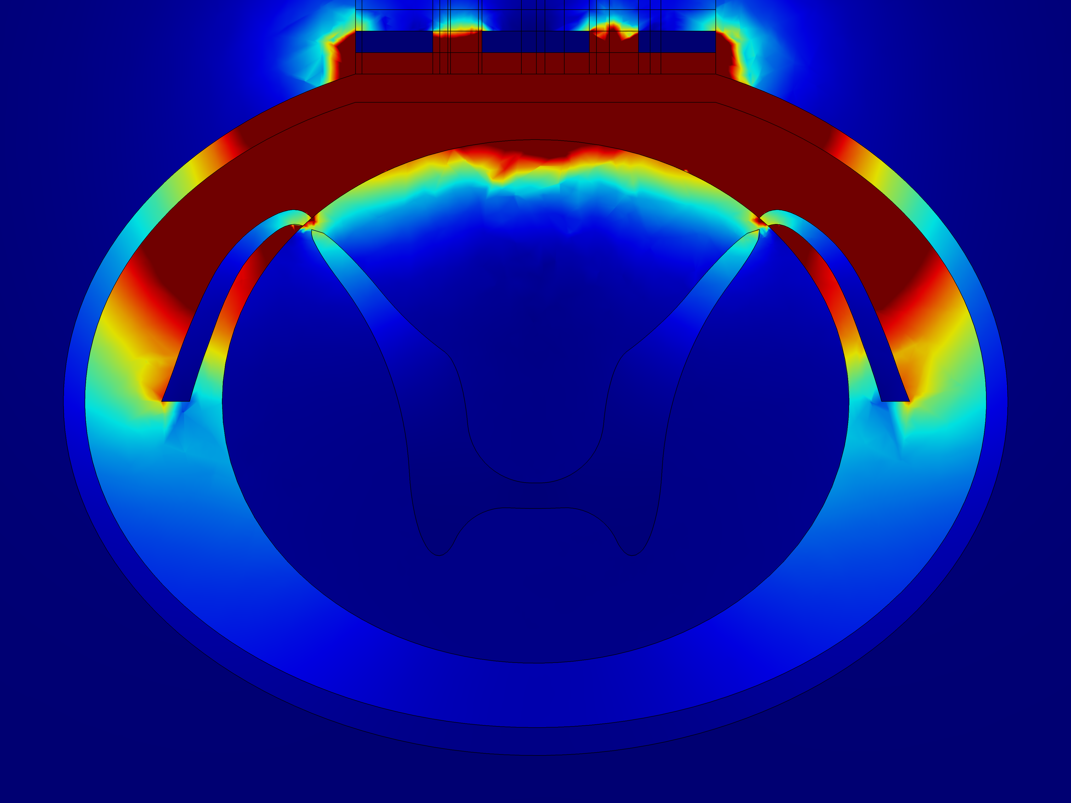 Control slice current density norm xz view, COMSOL Multiphysics