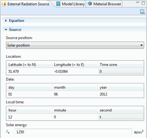 Solar position settings in COMSOL Multiphysics 4.3 Heat Transfer Module