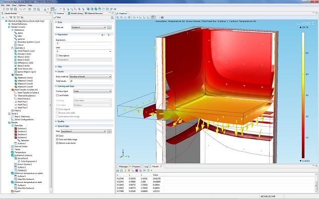 Thermal bridge modeled with COMSOL Multiphysics version 4.3.