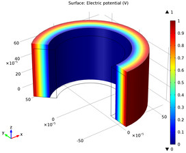 COMSOL model: Induced electric potential within the deformed piezoelectric tube