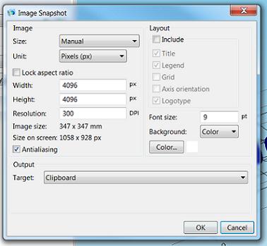 Image snapshot in COMSOL Multiphysics, entered dimensions