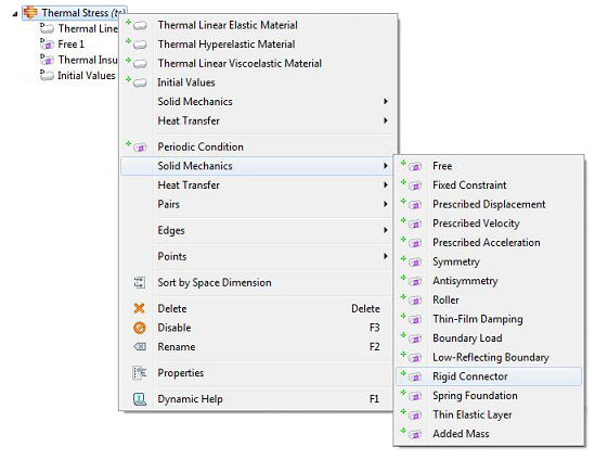COMSOL, Context menu for solid mechanics boundary conditions