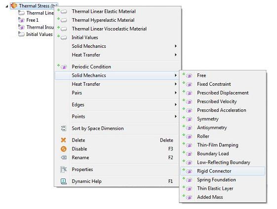 COMSOL, Context menu for solid mechanics boundary conditions