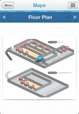 Maps section showing venue floor plan for COMSOL Conference Boston 2012