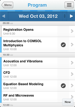 COMSOL Conference program app