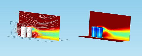 Modeling a homemade air conditioner: Streamlines and temperature distribution