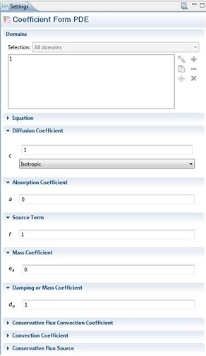 Coefficient form settings