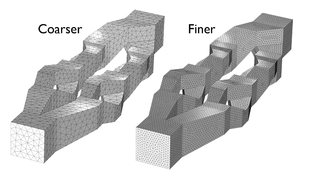 coarser and finer meshes