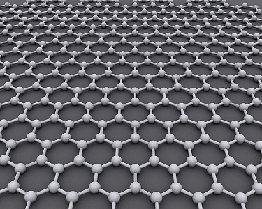 An image depicting graphene with a hexagonal carbon atom configuration.