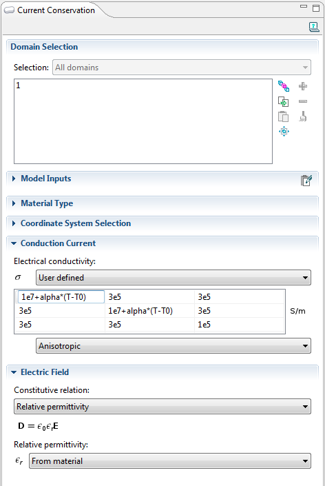 settings windows for the Current Conservation feature in the Electric Currents interface