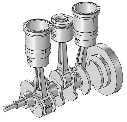 multibody dynamics: 3-cylinder engine