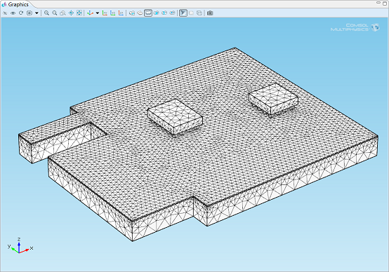 Meshes: Circuit board model with a tetrahedral mesh