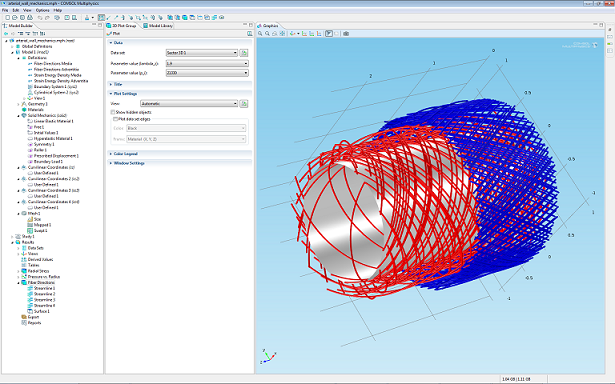 Fiber orientation in an arterial wall_COMSOL Multiphysics