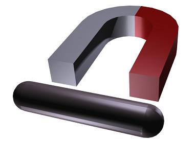 Horseshoe permanent magnet and iron rod