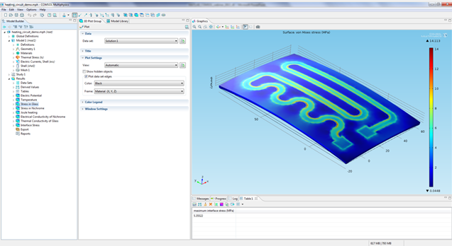 Heating circuit in COMSOL Multiphysics