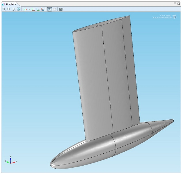 3D geometry of the port view of the bulb keel