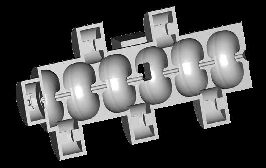 RF cavities in the waveguide