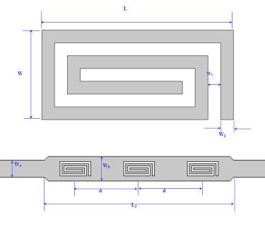 Geometry of the microstrip spiral resonator