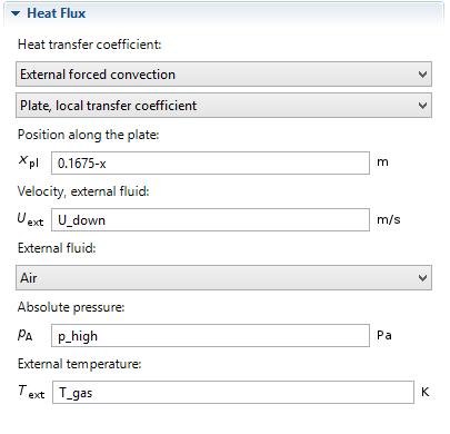Predefined heat transfer coefficient