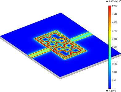 The electric field surrounding a fractal spiral resonator filter