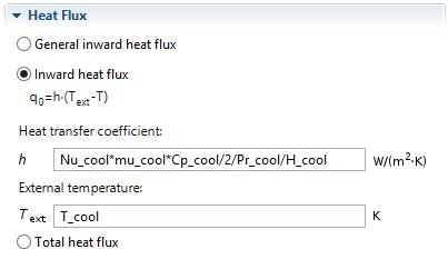 User defined heat transfer coefficient
