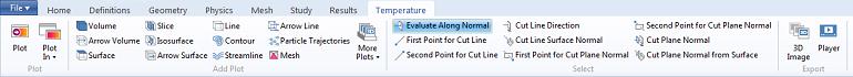 Temperature plot tab in the ribbon, a 3D Plot Group contextual tab