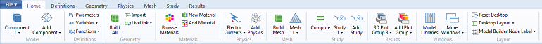 The Home tab on the ribbon in COMSOL Multiphysics