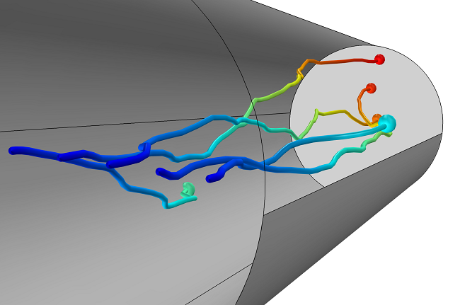 Argon ion trajectories in a drift tube simulated using the Particle Tracing Module
