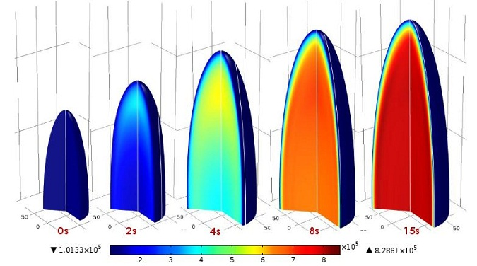 Coupling transport and solid mechanics to analyze puffing rice