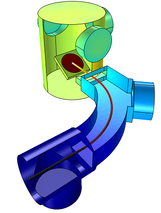 Molecular Flow in an Ion-Implant Vacuum System model simulated using the Molecular Flow Module
