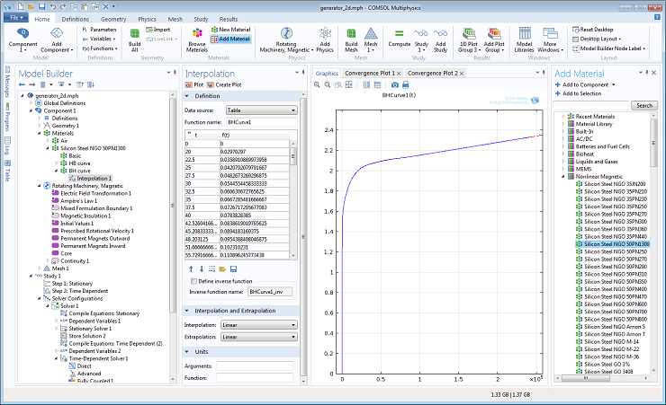 Plotting the B-H curve using the nonlinear magnetic material library in COMSOL 4.4