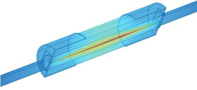 Simulation showing joule heating in a fuse