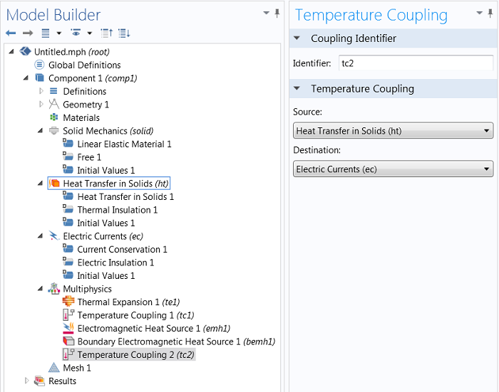 Temperature coupling subnodes in the Model Builder