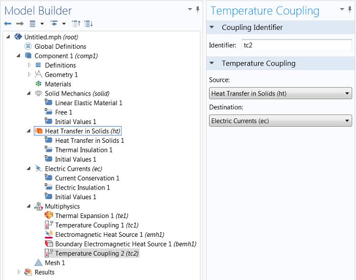 Temperature coupling subnodes in the Model Builder