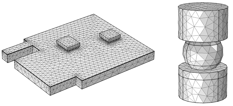 Mesh comparison of global and submodel of a single solder ball