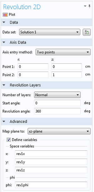 Revolution 2D settings window