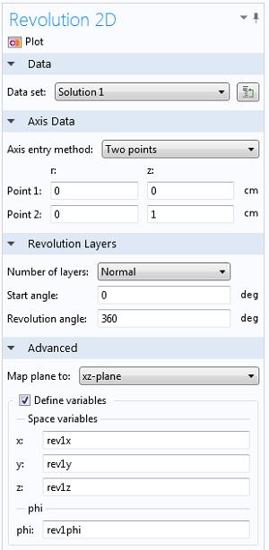 Revolution 2D settings window