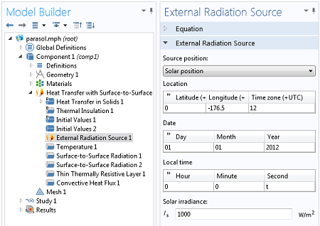 Settings window for modeling the external radiation source.