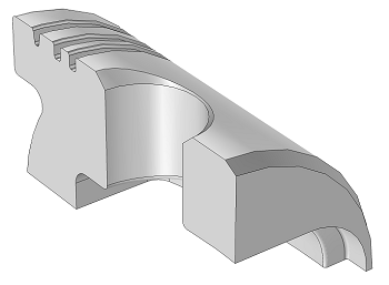 A model of a quarter section of piston geometry