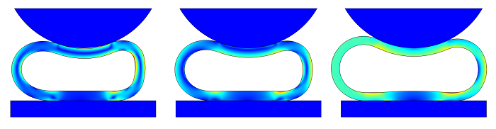 Solution comparison: No internal pressure, compressible air, and an incompressible fluid
