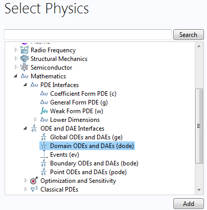 Select the Domain ODEs and DAEs interface from the Model Wizard